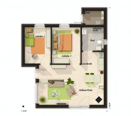 Town & Country - Glückswelthaus Bungalow 61 Floorplan 1