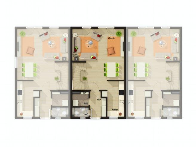 Mainz 128 Reihenmittelhaus von Town & Country Haus Deutschland Grundriss 1