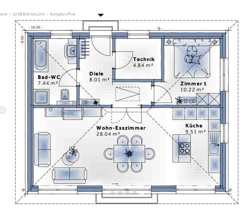 Variohaus - Bungalow Five Floorplan 1