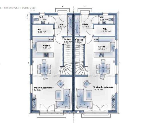 Variohaus - Duplex D110 Floorplan 1