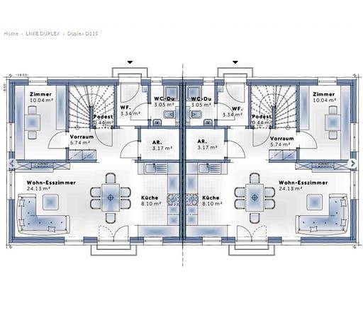 Variohaus - Duplex D115 Floorplan 1