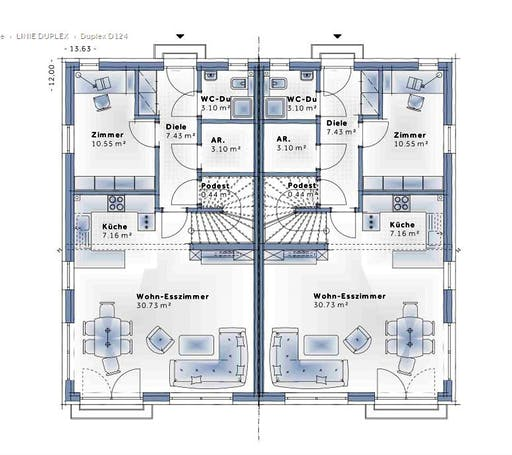Variohaus Duplex D124 Floorplan 1
