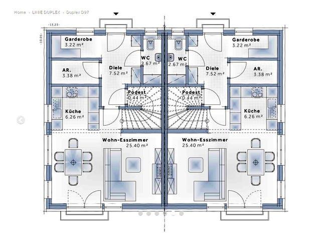 Duplex D97 von VARIO-HAUS Grundriss 1