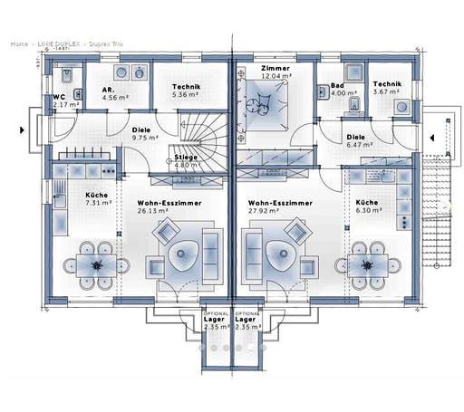 Variohaus - Duplex Trio Floorplan 1