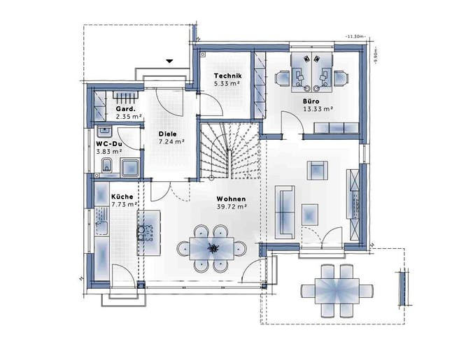 New Design Esprit LARGE von VARIO-HAUS Grundriss 1