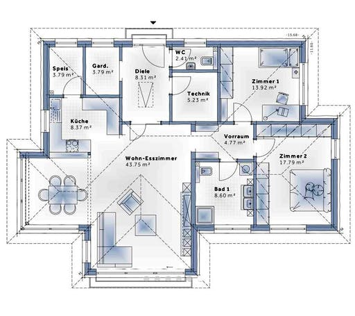 Variohaus - S141 SMALL Floorplan 1