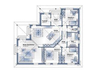 Bungalow W136 von VARIO-HAUS Grundriss 1