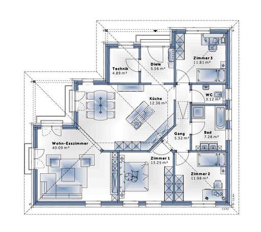 Variohaus - Bungalow W136 Floorplan 1