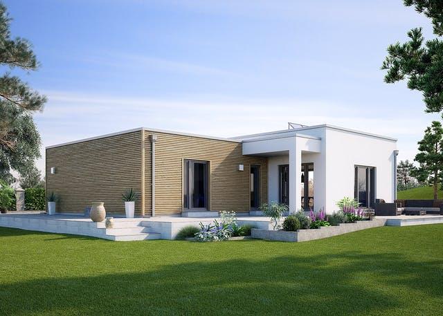 Bauhaus Bungalow in Fertigbauweise mit Mixfassade