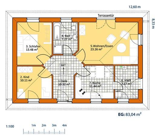 Virtus Bungalow V 90 Floorplan 1