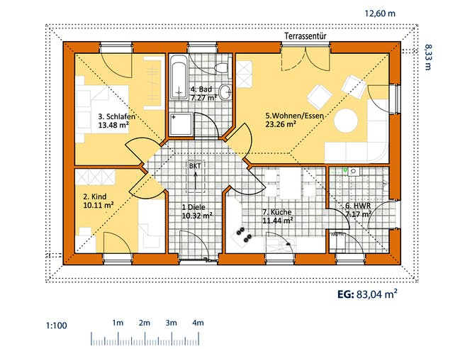 Virtus Bungalow V 90 Floorplan 1