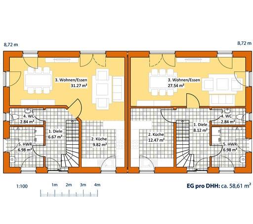 Virtus Doppelhaus V 120 Floorplan 1