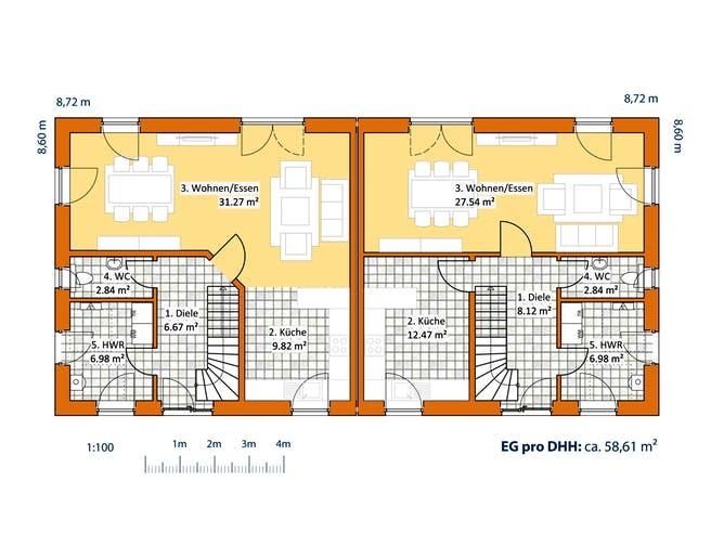 Doppelhaus V 120 von VIRTUS MASSIVHAUS Grundriss 1