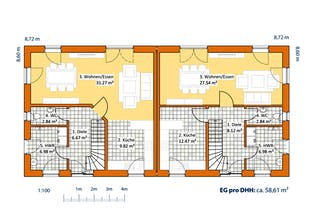 Doppelhaus V 120 Grundriss