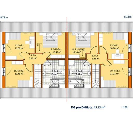 Virtus Doppelhaus V 120 Floorplan 2