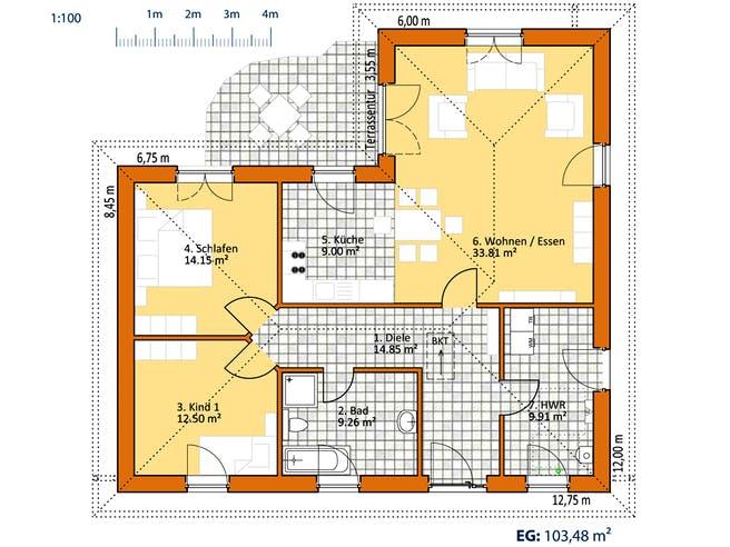Virtus Winkelbungalow V 105 Floorplan 1