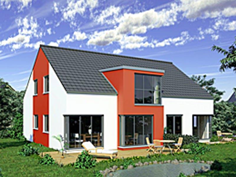 Weiß rotes Satteldachhaus von Favorit Haus
