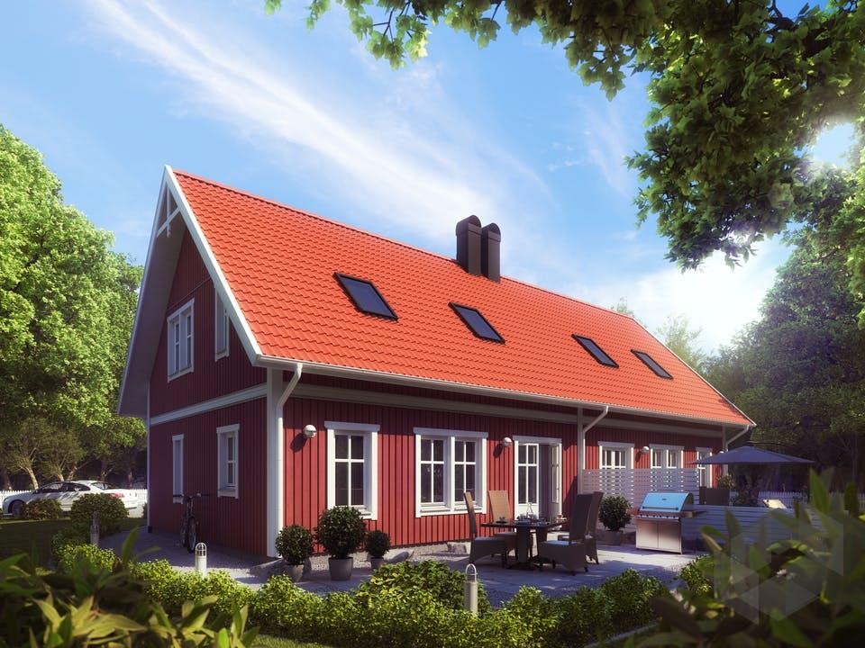 Falunrotes Schwedenhaus Wanås von Eksjöhus: so schön kann ein Doppelhaus sein