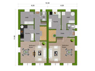 DHH Stadthaus 110 von WBI Hausbau Grundriss 1
