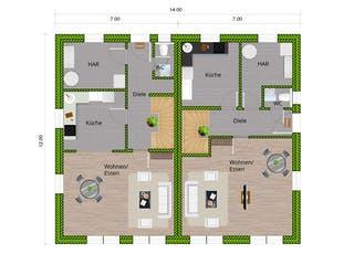 DHH Stadthaus 130 von WBI Hausbau Grundriss 1