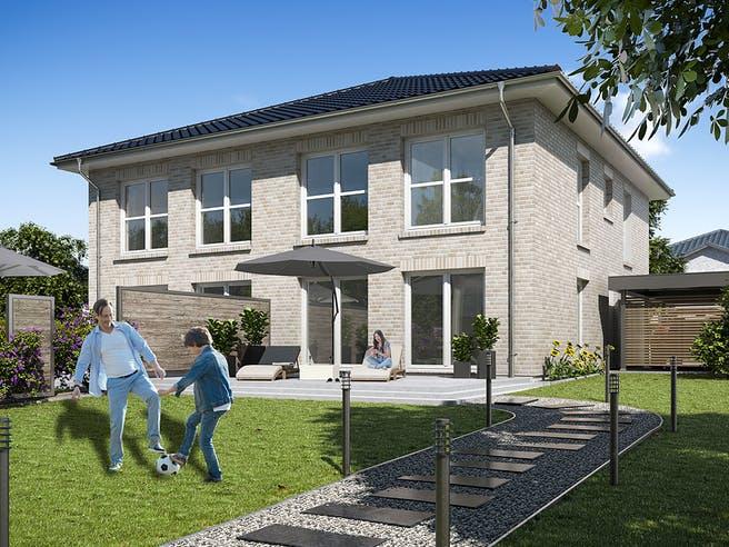 DHH Stadtvilla 110 von WBI Hausbau Außenansicht 1