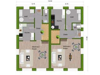 DHH Stadtvilla 110 von WBI Hausbau Grundriss 1