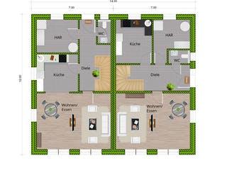 DHH Stadtvilla 130 von WBI Hausbau Grundriss 1