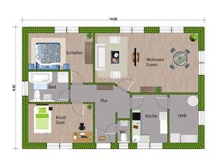 Bungalow 105 von WBI Hausbau Grundriss 1