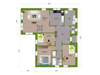 Bungalow 140 von WBI Hausbau Grundriss 1