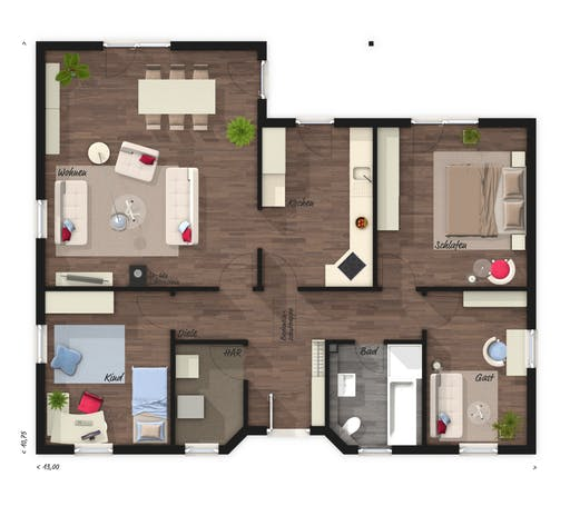 Winkelbungalow 108 Elegance Floorplan 1