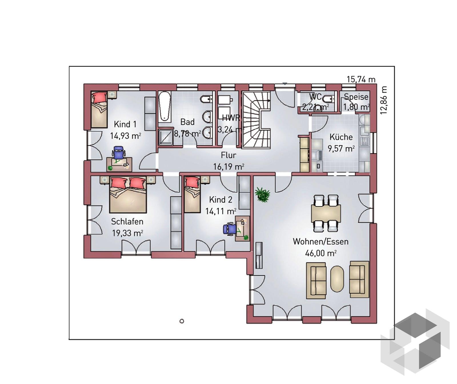 Winkelbungalow 140 Von HEFA Holz- & Massivhaus