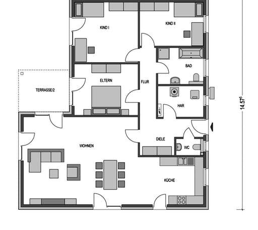 Winkelbungalow 165 Floorplan 1