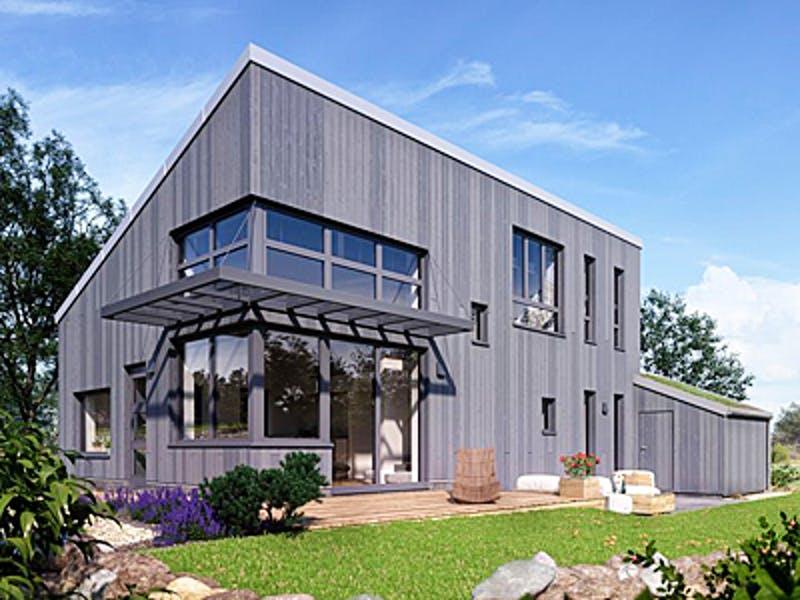 Modernes Pultdachhaus mit grauer Holzfassade von Witt Zimmerei