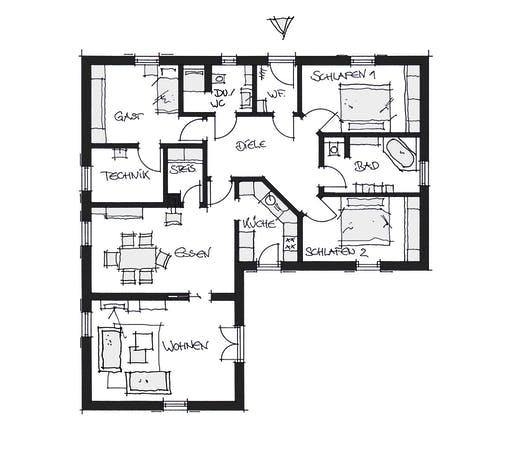 Wolfsystem Bungalow Nöham Floorplan 1