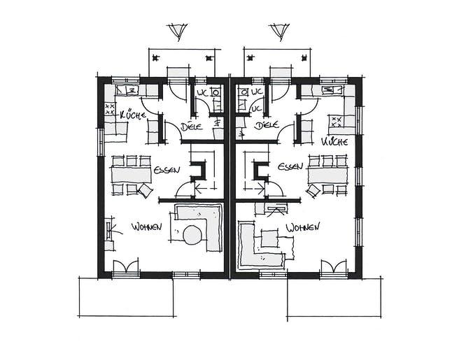 Doppelhaus Fürstenfeldbruck von Wolf System Grundriss 1
