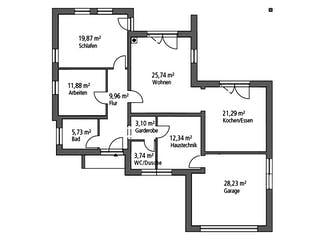 Bungalow BGL 114 von Ytong Bausatzhaus Grundriss 1