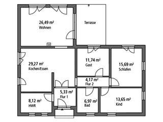 Bungalow BGL 122 von Ytong Bausatzhaus Grundriss 1