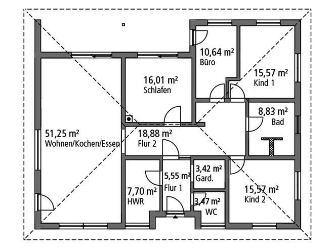 Bungalow BGL 154 von Ytong Bausatzhaus Grundriss 1