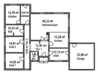 Bungalow BGL 168 von Ytong Bausatzhaus Grundriss 1