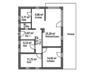 Bungalow BGL 87 von Ytong Bausatzhaus Grundriss 1