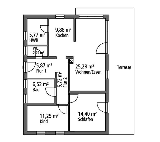 Ytong Bungalow 87 Floorplan 1