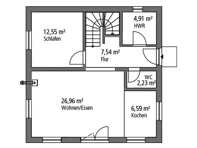 Einfamilenhaus BHS 122 von Ytong Bausatzhaus Grundriss 1