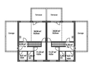 Doppelhaus DHH 119 von Ytong Bausatzhaus Grundriss 1