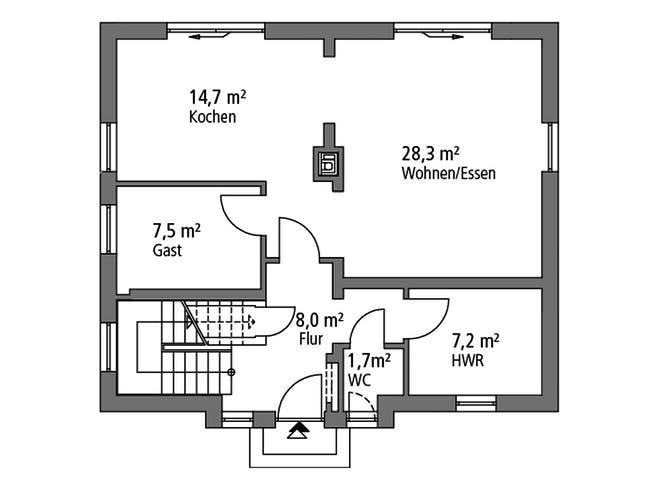 Einfamilienhaus EFH 124 von Ytong Bausatzhaus Grundriss 1