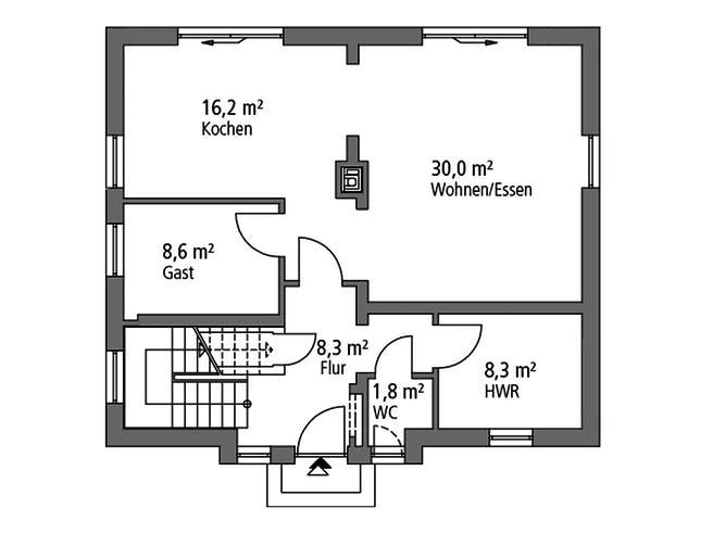 Einfamilienhaus EFH 136 von Ytong Bausatzhaus Grundriss 1