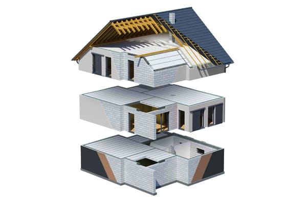 Modell eines Ytong Bausathauses mit Beschreibung