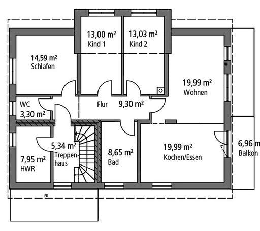 Ytong Zweifamilienhaus ZFH 244 Floorplan 2